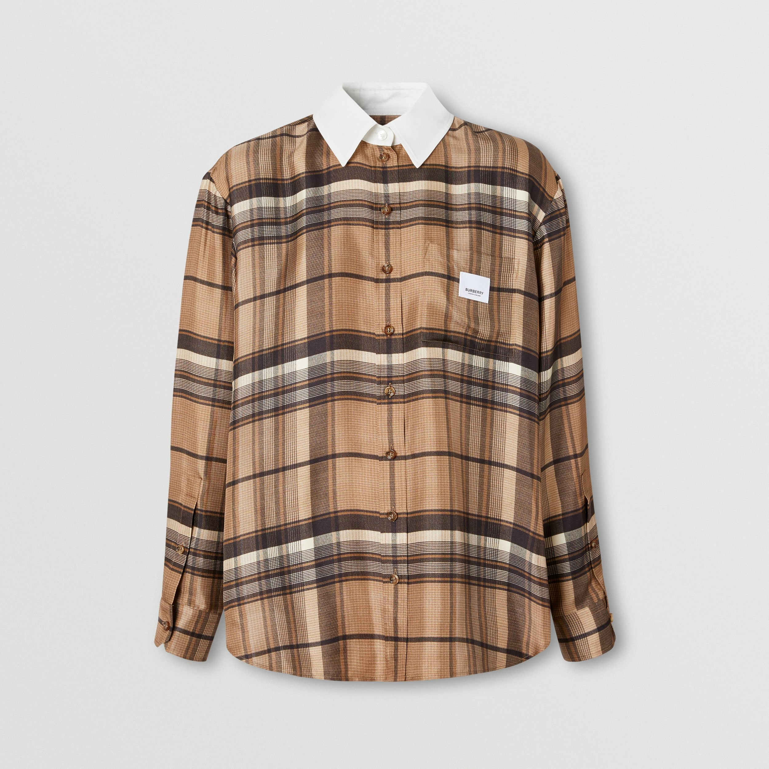 Logo Appliqué Check Print Silk Twill Shirt in Dark Tan - Women | Burberry - 4