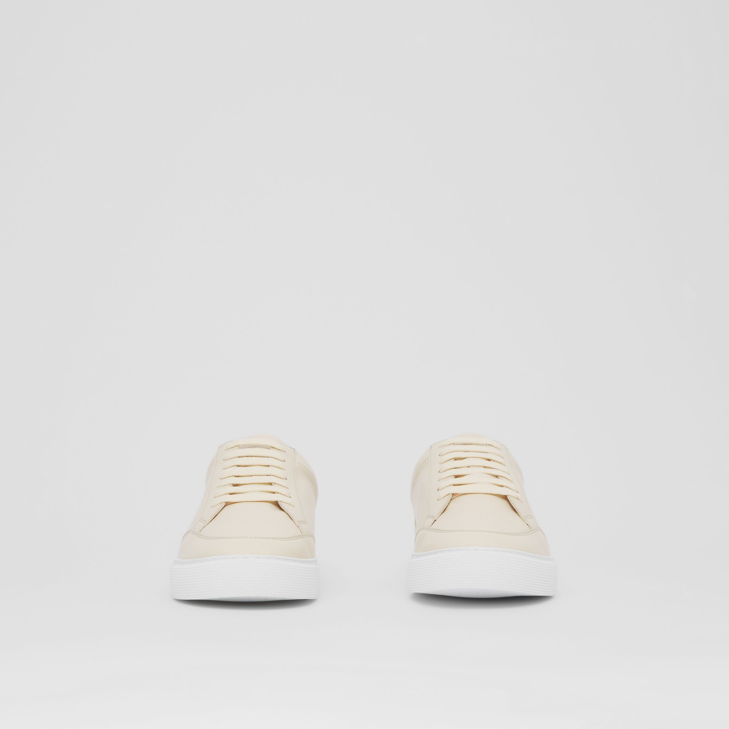 Logo Detail Lambskin Sneakers in Pale Biscuit - Women | Burberry - 3