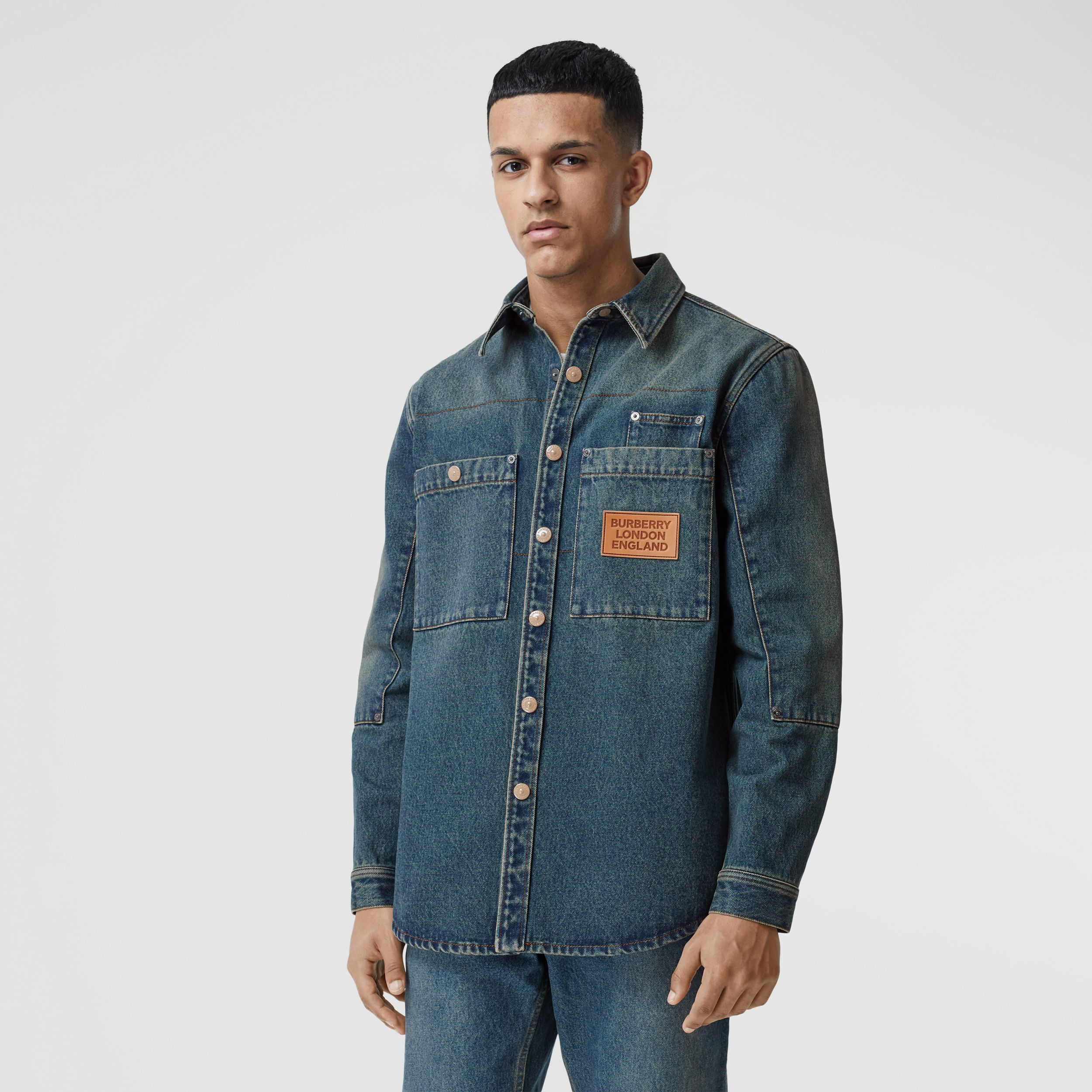 Logo Appliqué Denim Shirt in Indigo - Men | Burberry - 1