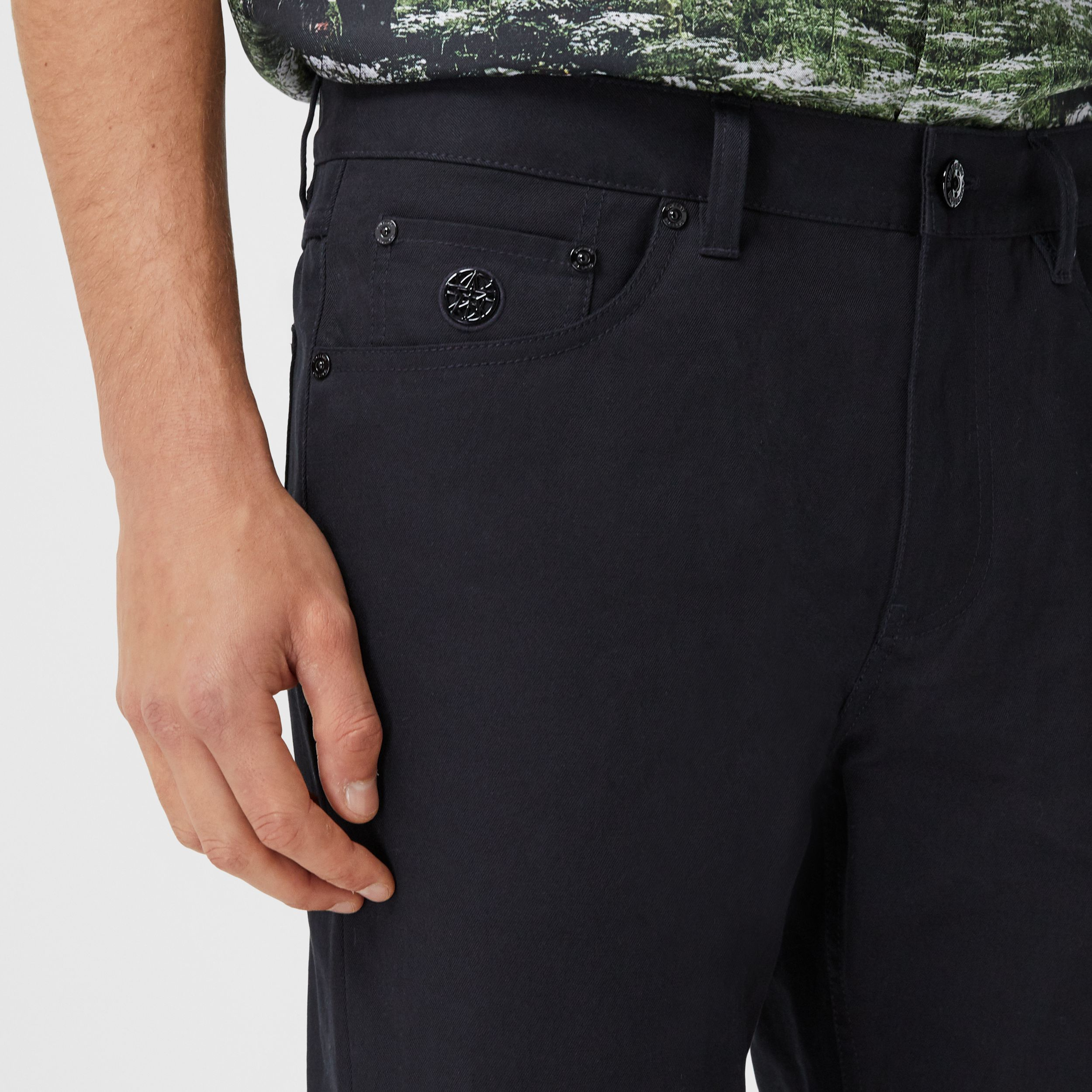 Slim Fit Cotton Chinos in Navy - Men | Burberry - 2