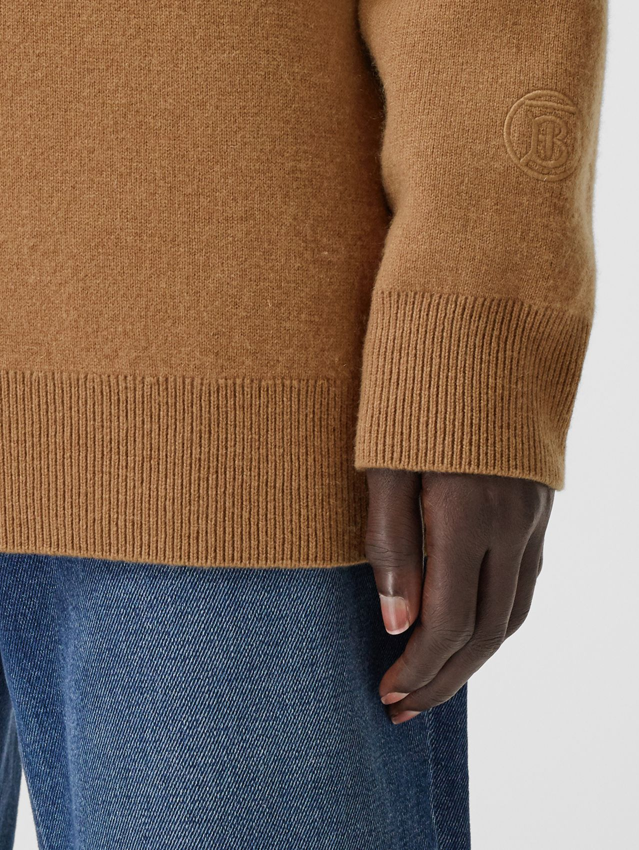 Monogram Motif Cashmere Blend Funnel Neck Sweater in Camel