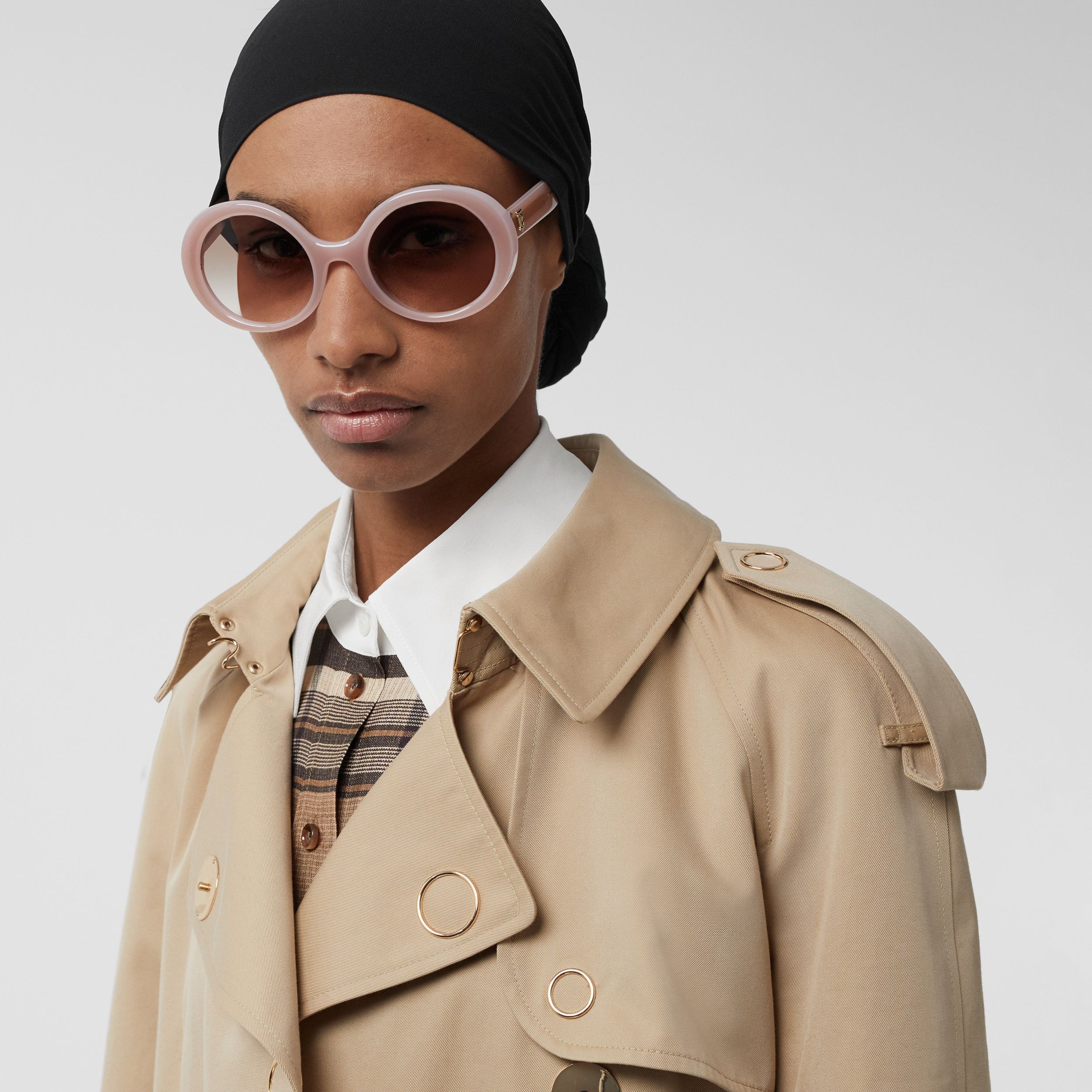 Oversized Round Frame Sunglasses in Opal Pink - Women | Burberry - 3