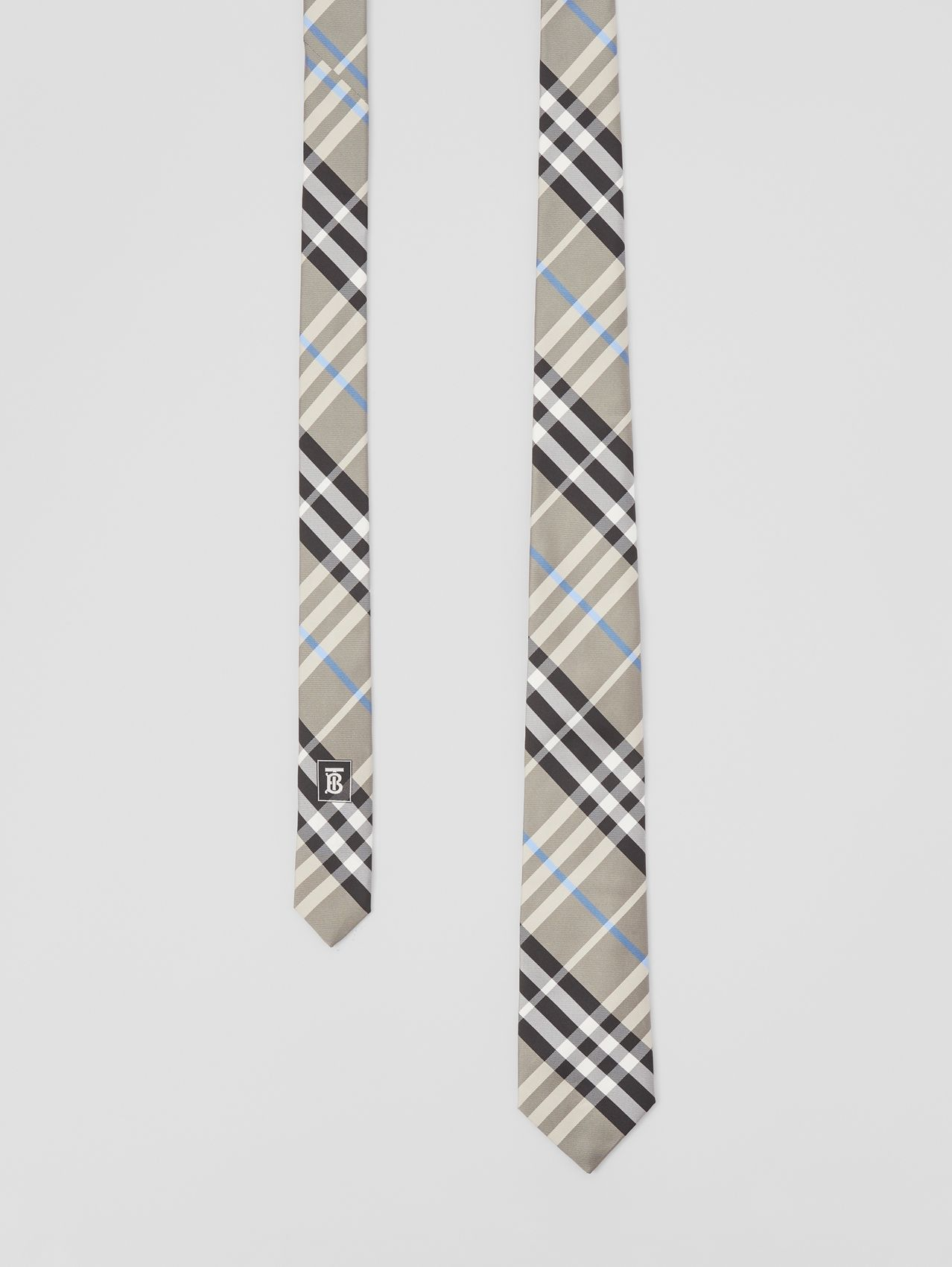 Modern Cut Check Silk Tie in Soft Fawn