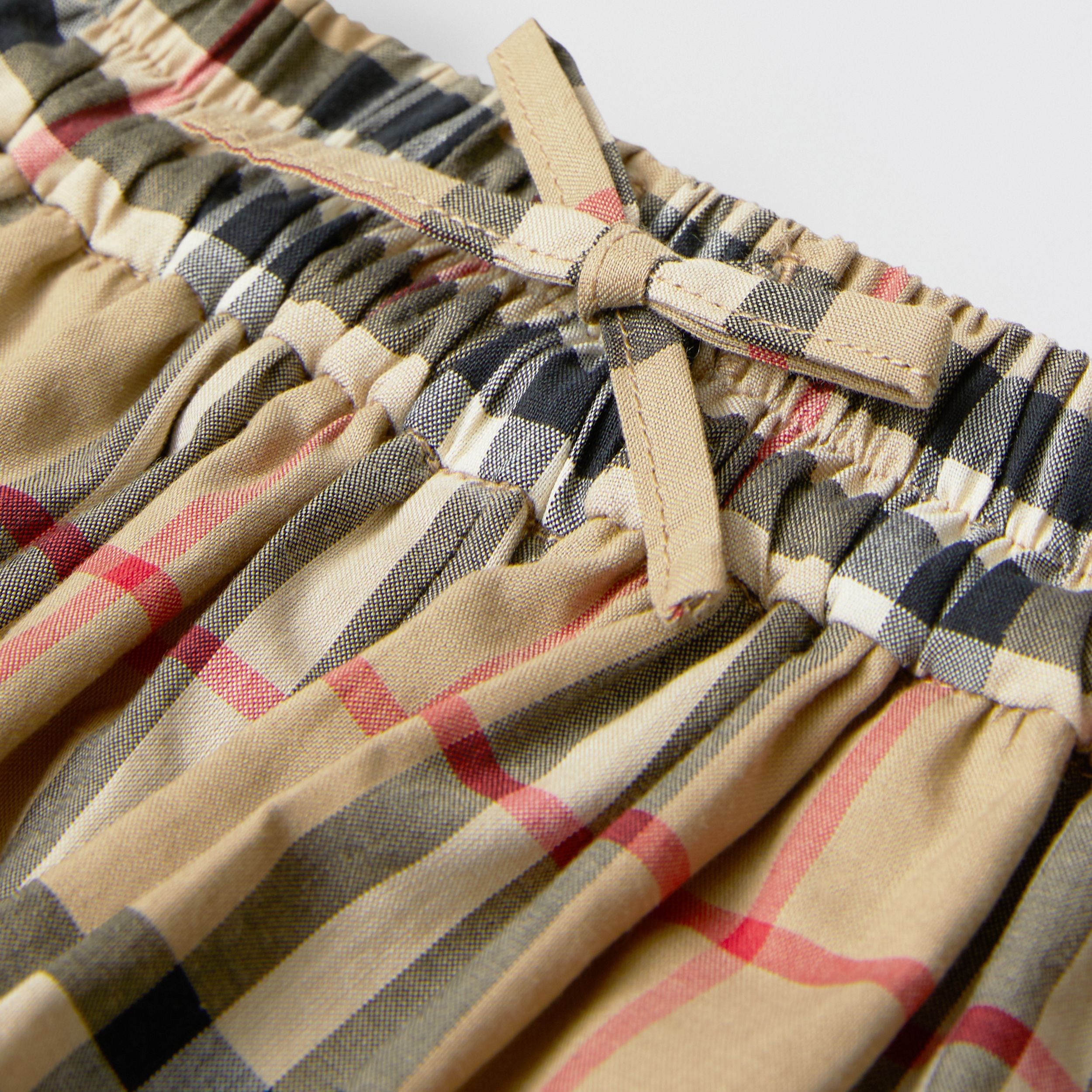 Vintage Check Gathered Cotton Shorts in Archive Beige | Burberry - 2