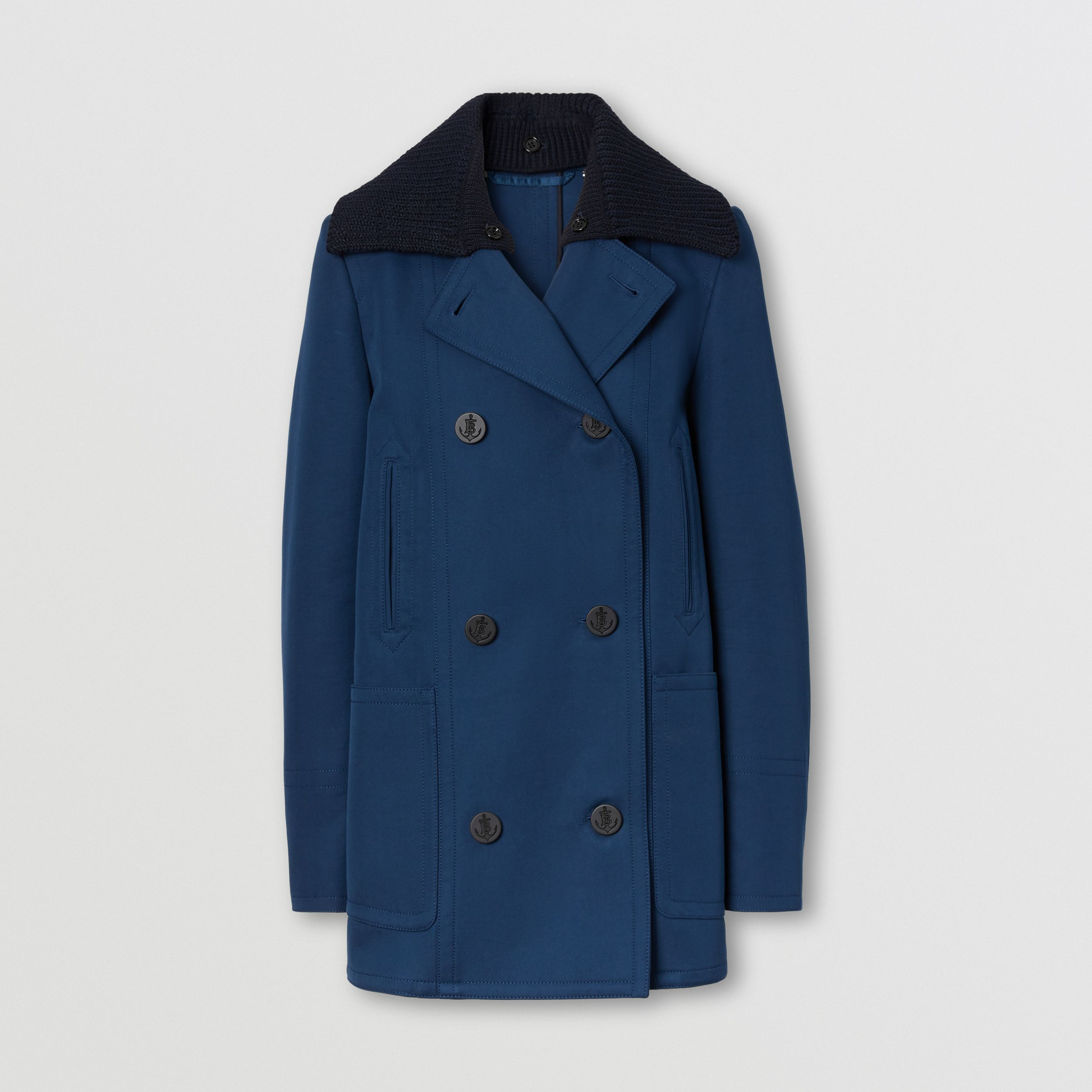 Detachable Rib Knit Collar Cotton Pea Coat in Ink Blue - Women | Burberry United Kingdom - 4