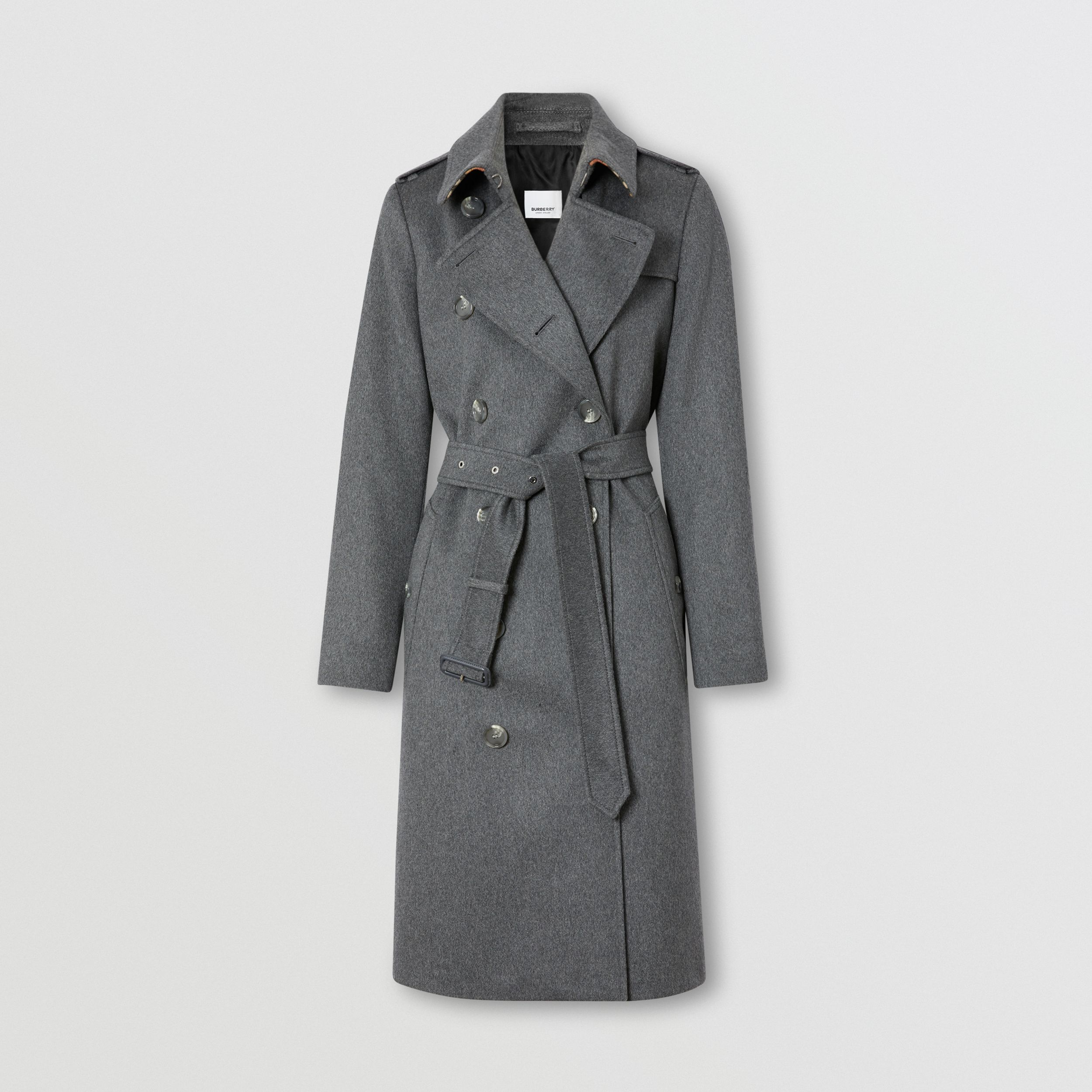 Regenerated Cashmere Trench Coat in Mid Grey Melange - Women | Burberry - 4