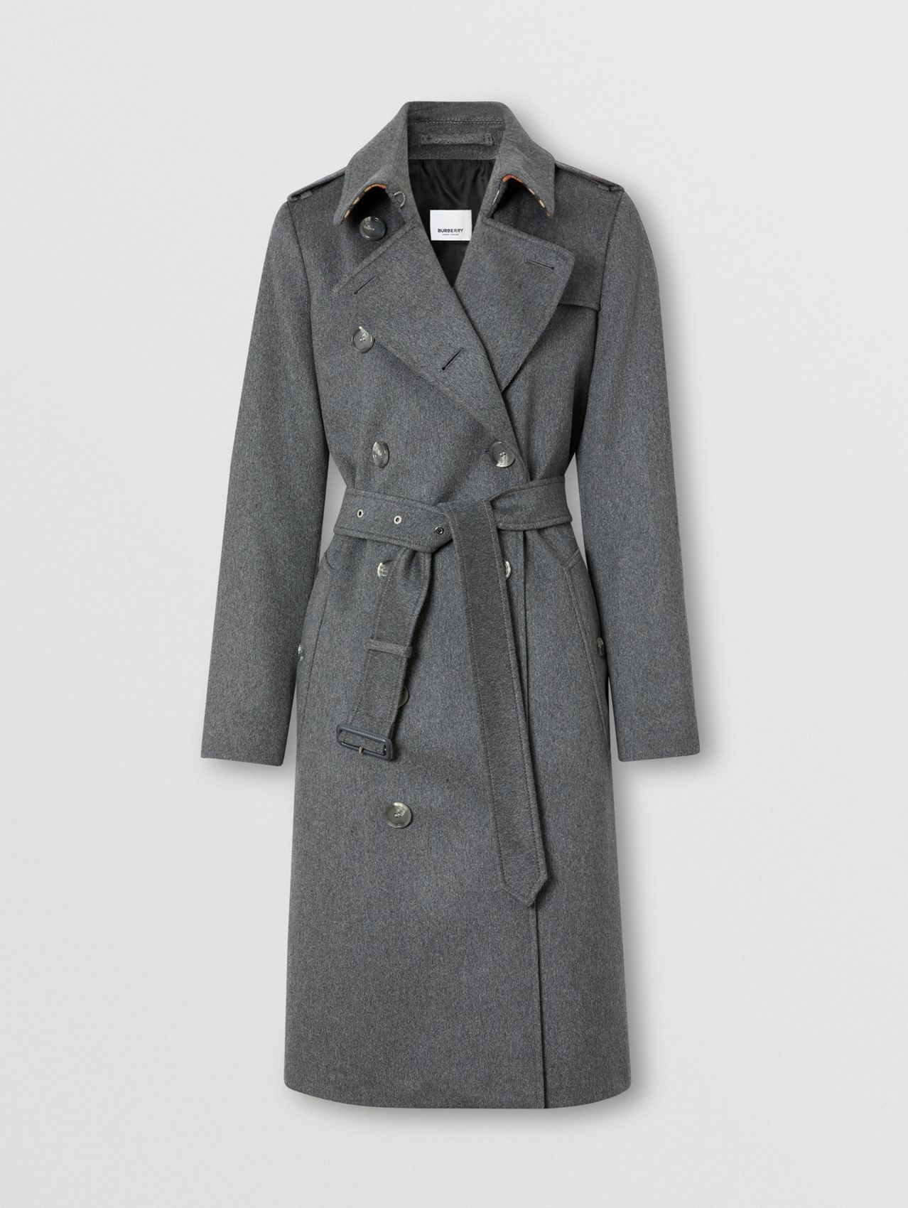 Regenerated Cashmere Trench Coat in Mid Grey Melange