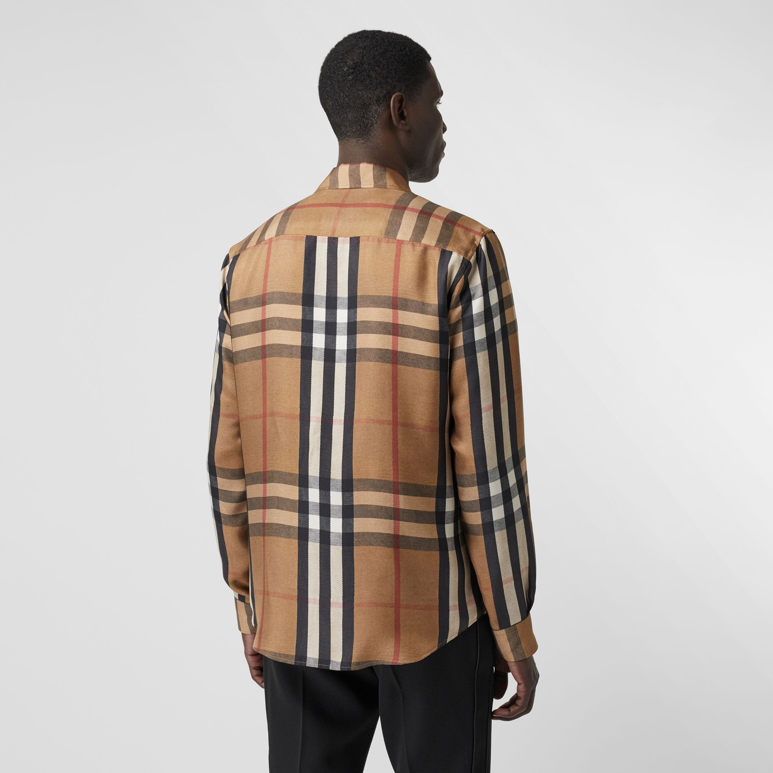 Classic Fit Check Silk Twill Reconstructed Shirt in Birch Brown - Men | Burberry - 3