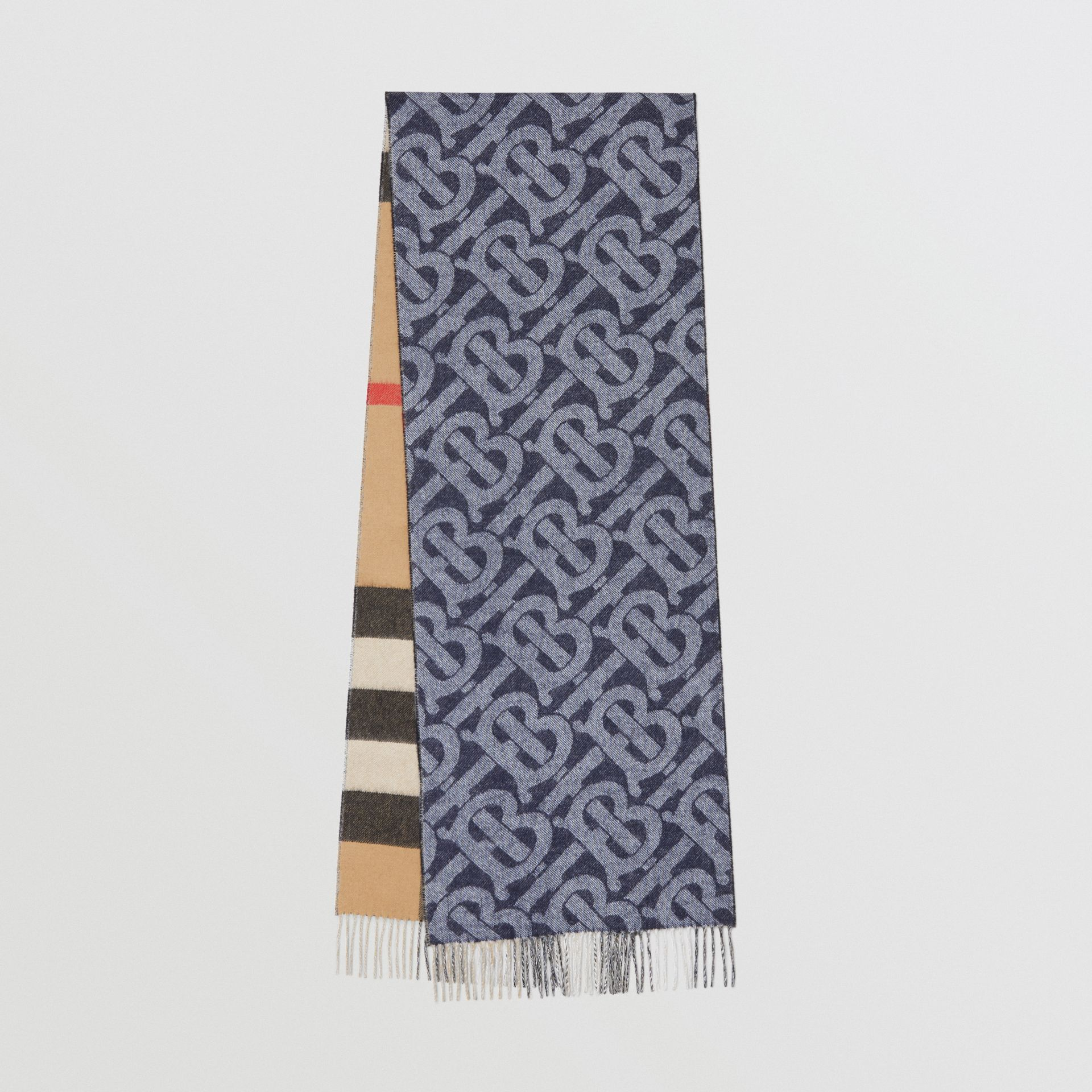 Reversible Check and Monogram Cashmere Scarf in Indigo | Burberry Singapore - gallery image 0