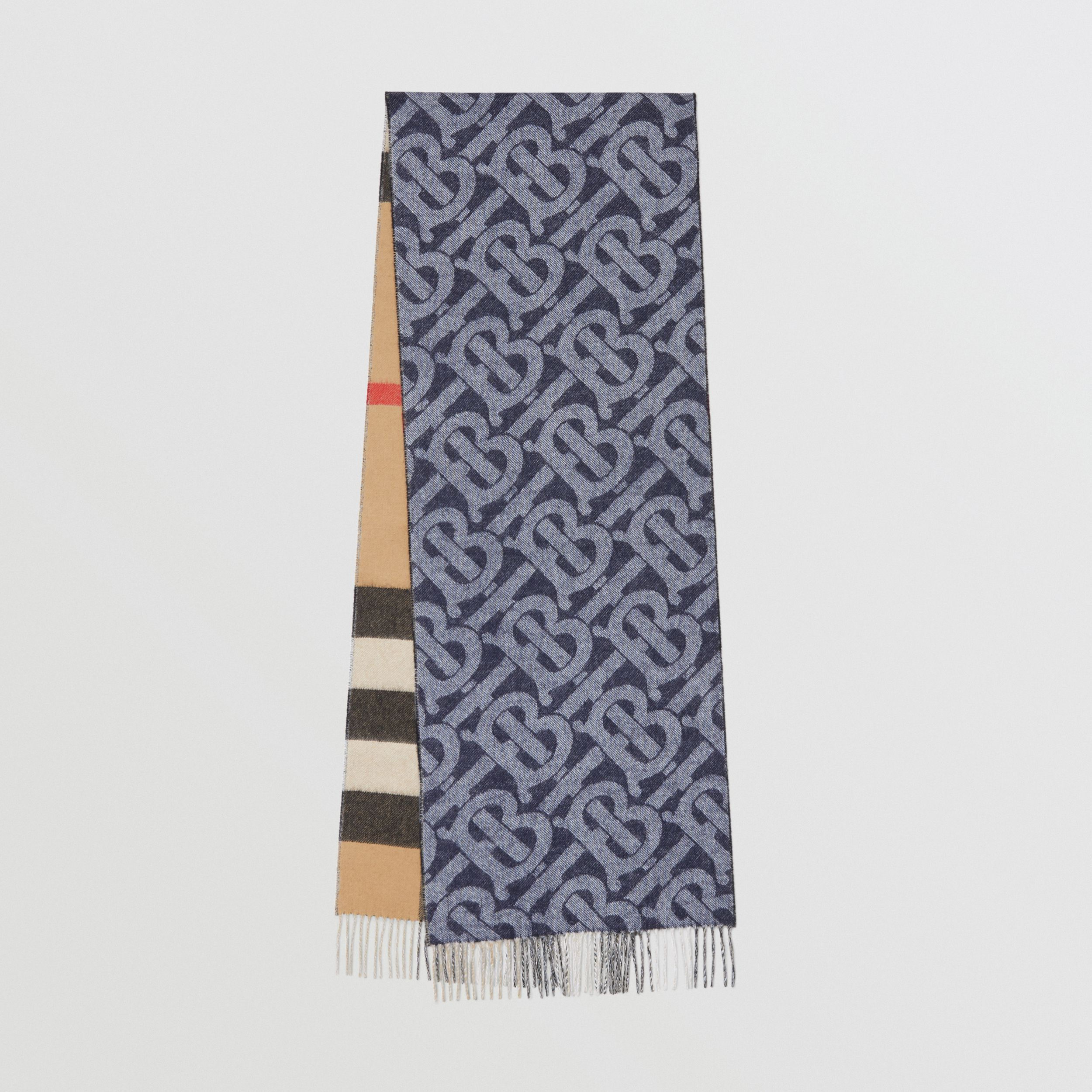Reversible Check and Monogram Cashmere Scarf in Indigo | Burberry Australia - 1