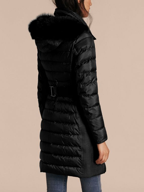 Black Down-filled Coat with Fur-trimmed Hood Black - cell image 2