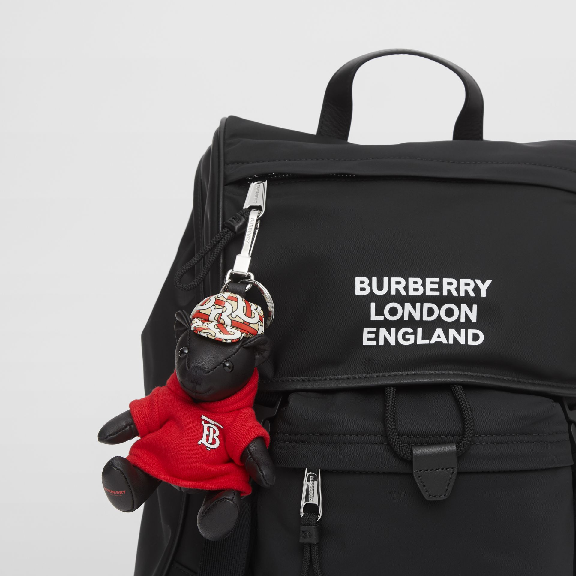 Thomas Bear Charm in Monogram Motif Hoodie in Black/red - Women | Burberry United Kingdom - gallery image 4