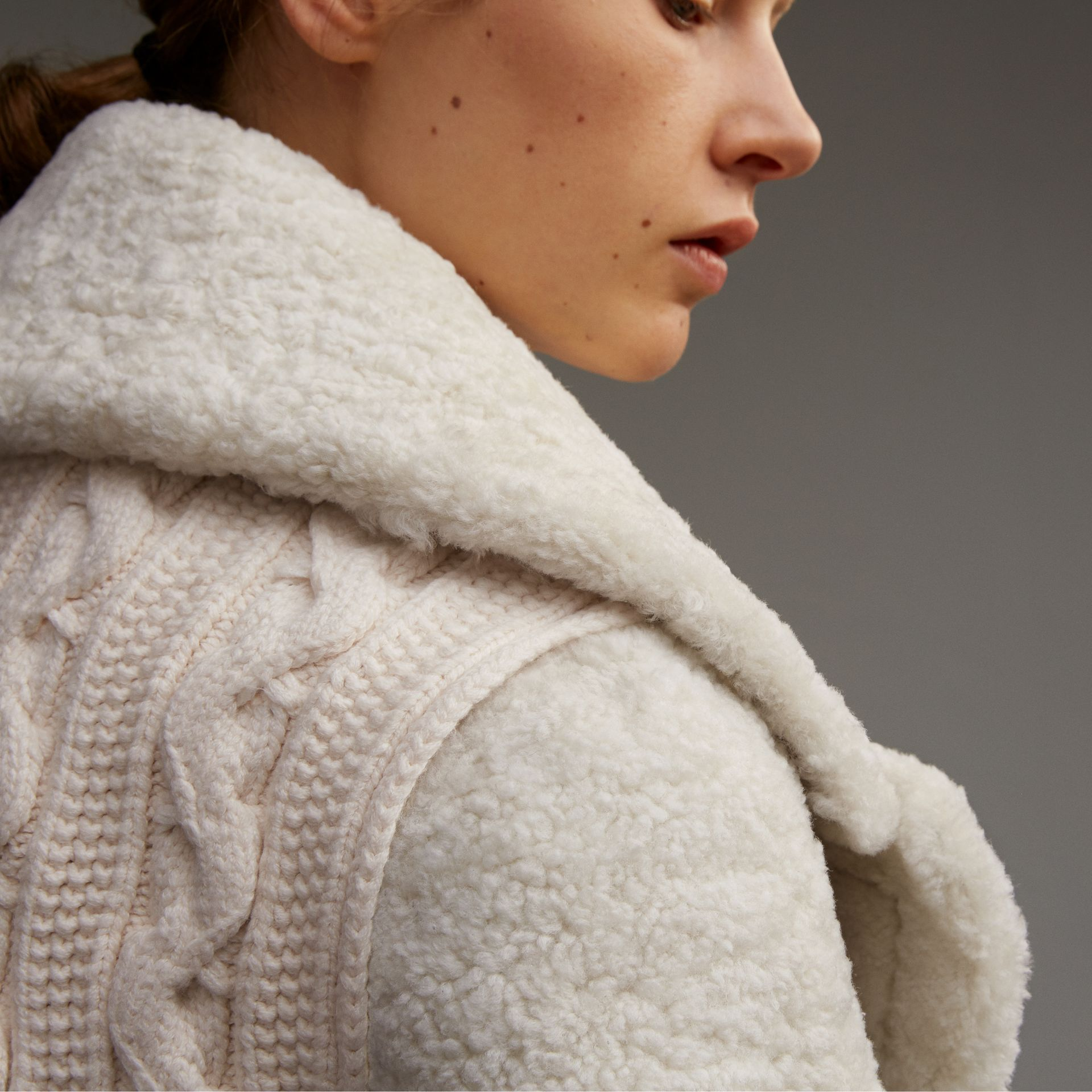 Oversize Collar Teddy Shearling Pea Coat - Women | Burberry - gallery image 3