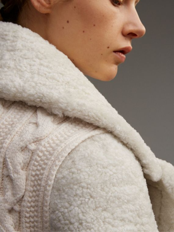 Oversize Collar Teddy Shearling Pea Coat in White - Women | Burberry - cell image 2