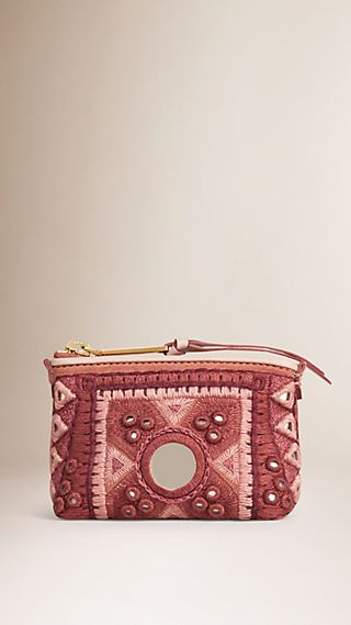 Mirror Embroidered Coin Wallet