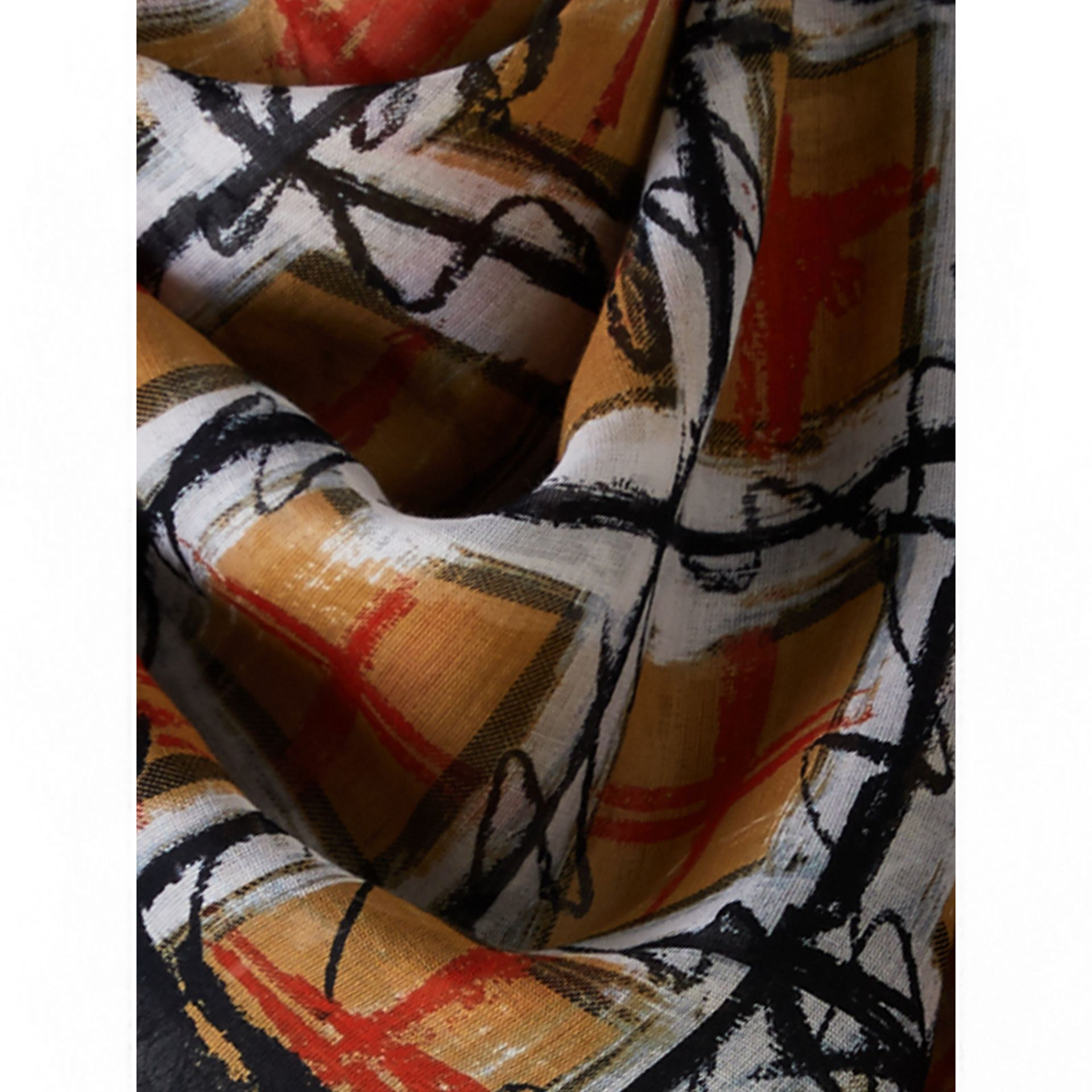 Scribble Check Print Cotton Square Scarf in Antique Yellow | Burberry United Kingdom - gallery image 1