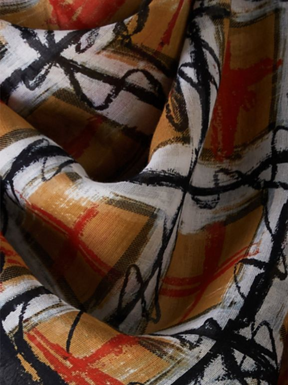 Scribble Check Print Cotton Square Scarf in Antique Yellow | Burberry - cell image 1