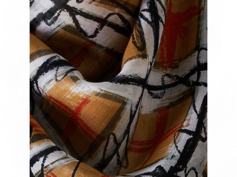 Scribble Check Print Cotton Square Scarf in Antique Yellow | Burberry Hong Kong - cell image 1