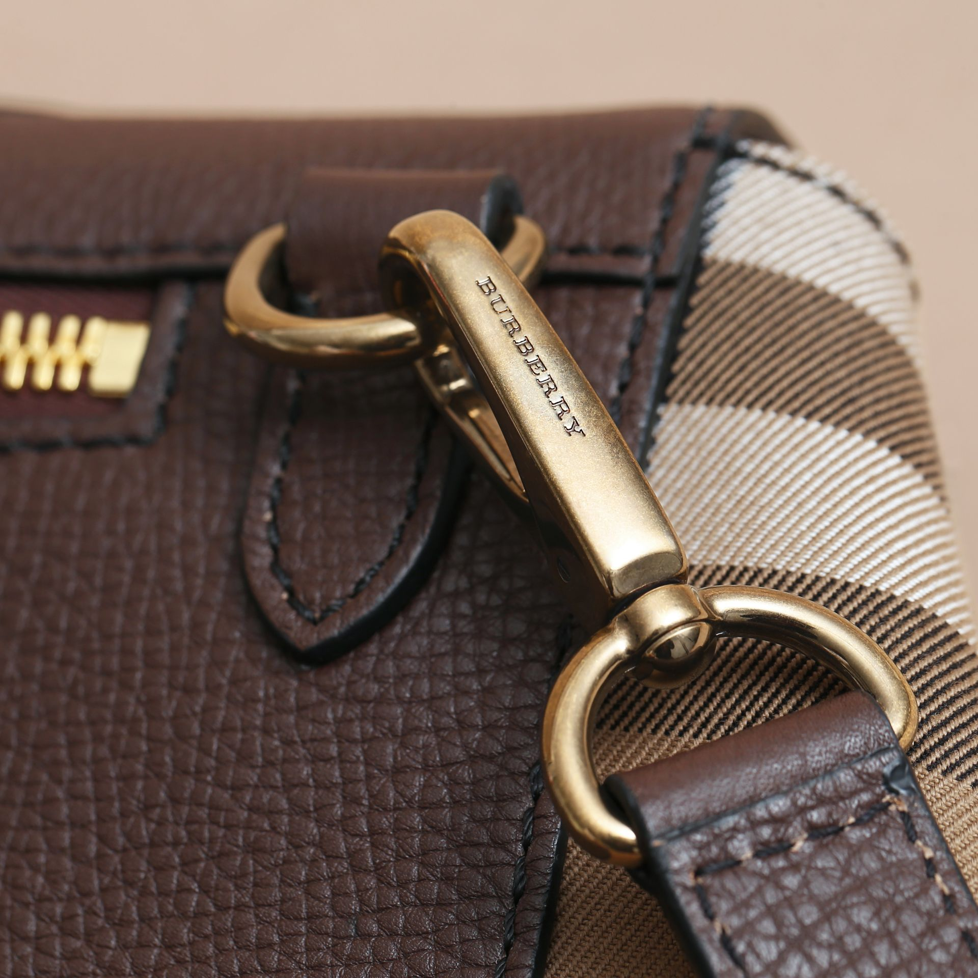 Leather and House Check Satchel in Oak Brown - Men | Burberry - gallery image 7