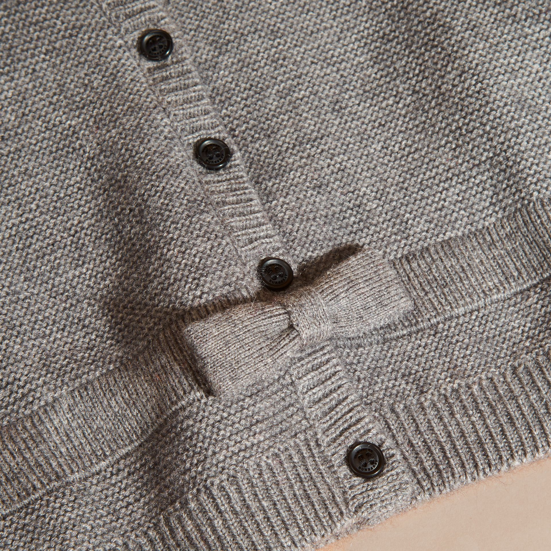 Mid grey melange Multi-stitch Cashmere Cotton Cardigan - gallery image 2