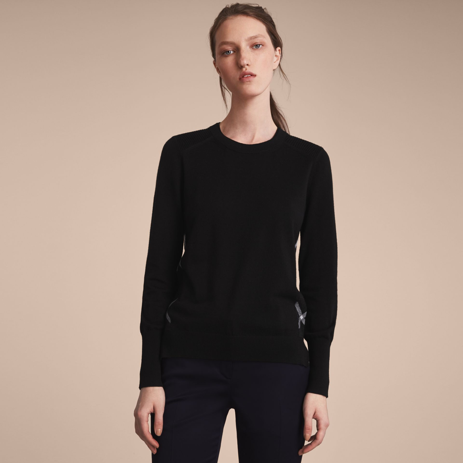 Check Detail Merino Wool Sweater in Black - Women | Burberry - gallery image 7