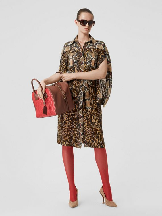 Cape Sleeve Animal Print Tie-waist Shirt Dress in Dark Mustard