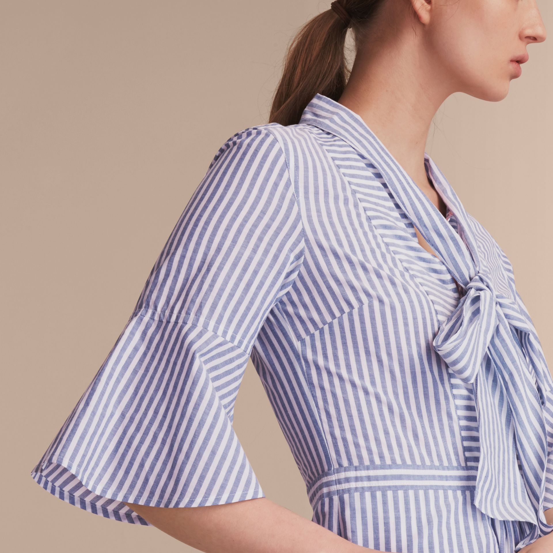 Bell-sleeve Striped Shirt Dress with Tie Neck - Women | Burberry Canada - gallery image 5