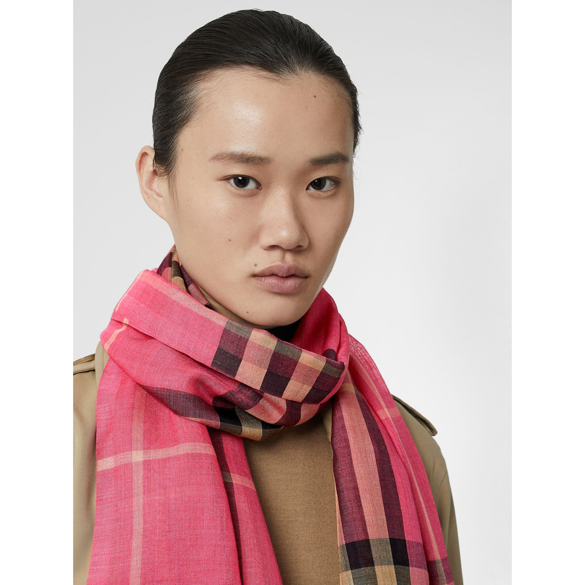 Lightweight Check Wool and Silk Scarf in Rose Pink | Burberry Australia - gallery image 2