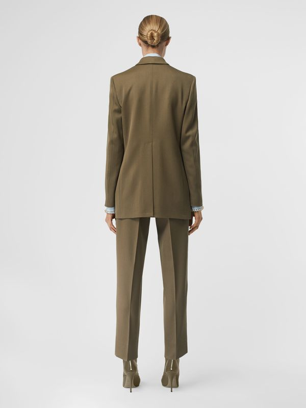 Press-stud Wool Twill Tailored Jacket in Warm Taupe - Women | Burberry - cell image 2