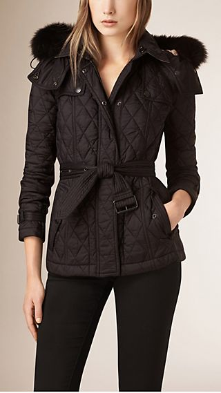 Fur-trimmed Diamond Quilted Jacket