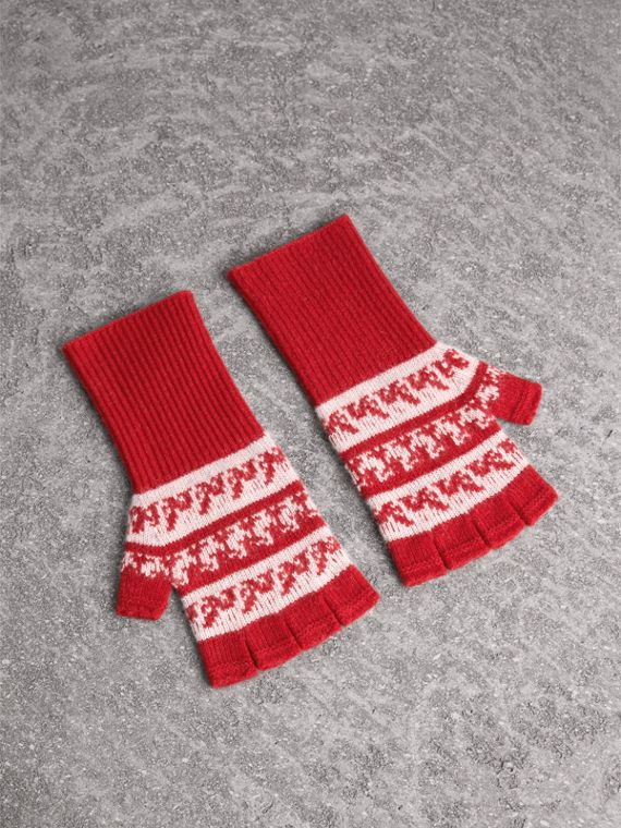 Fair Isle Cashmere Wool Fingerless Gloves in Military Red