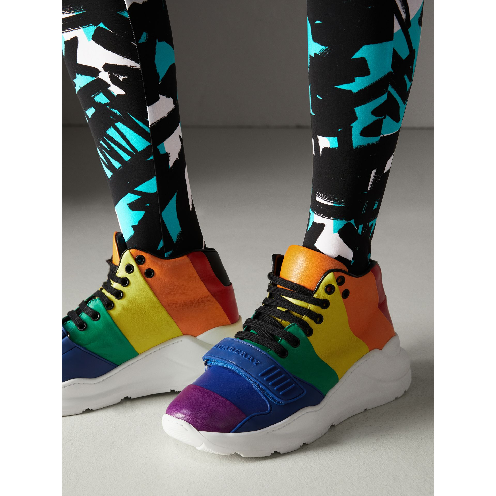 Rainbow Leather High-top Sneakers - Women | Burberry - gallery image 2