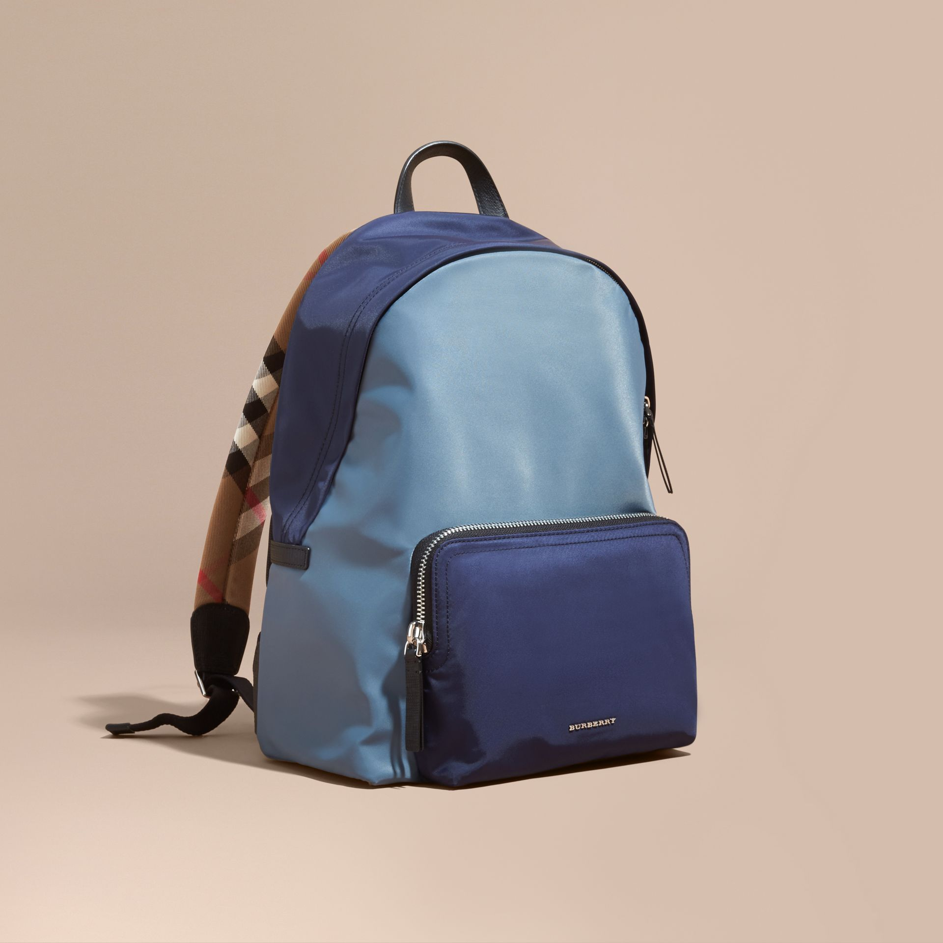Leather and House Check Trim Technical Backpack in Slate Blue - gallery image 1