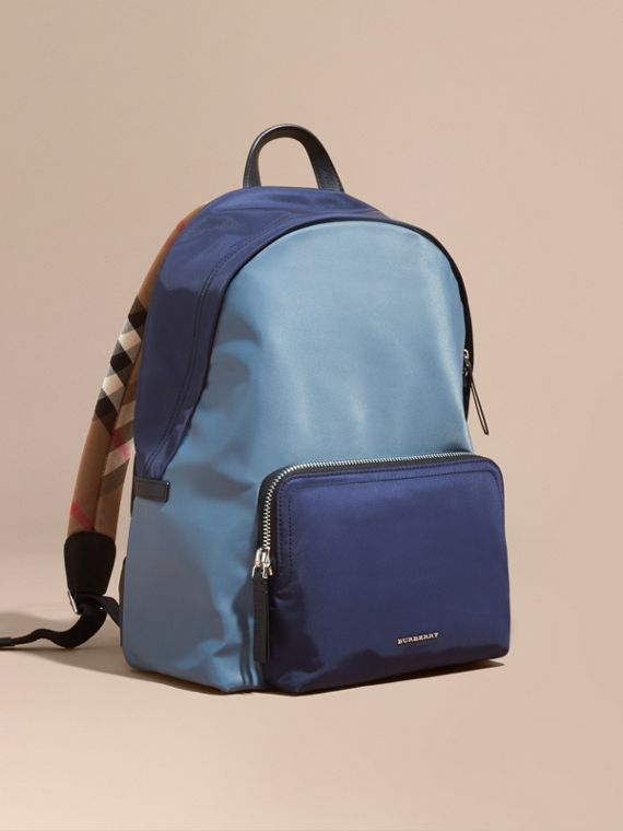Leather and House Check Trim Technical Backpack Slate Blue