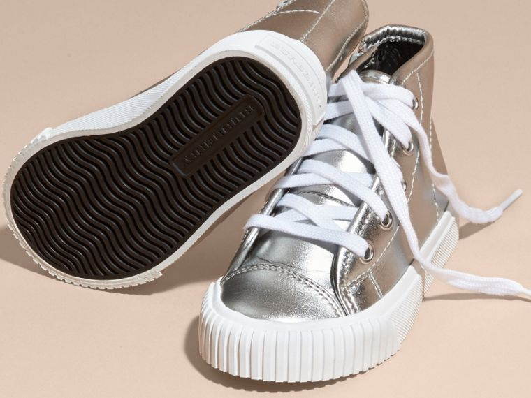 Silver Metallic Leather High-top Trainers - cell image 1