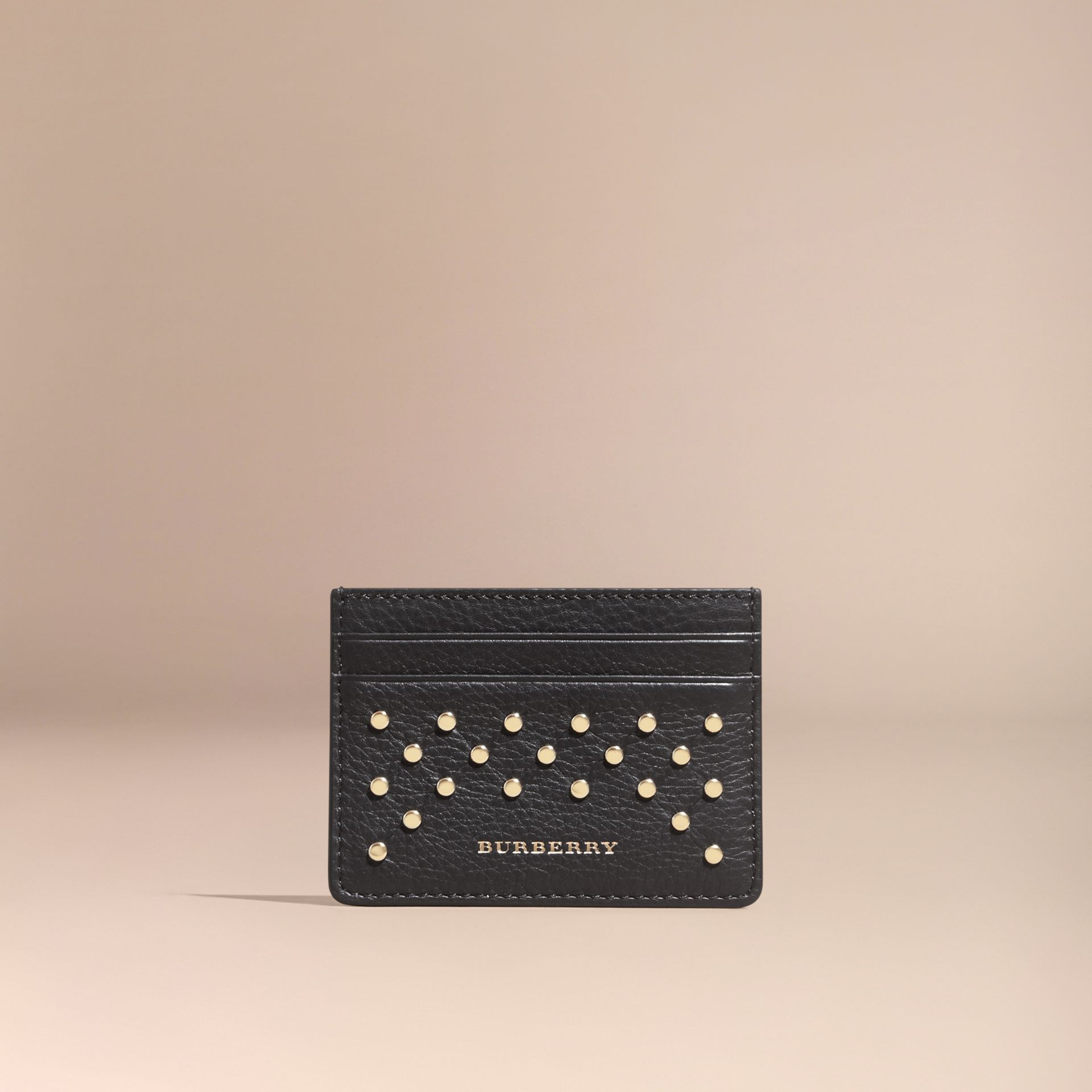 Black Studded Leather Card Case - gallery image 6