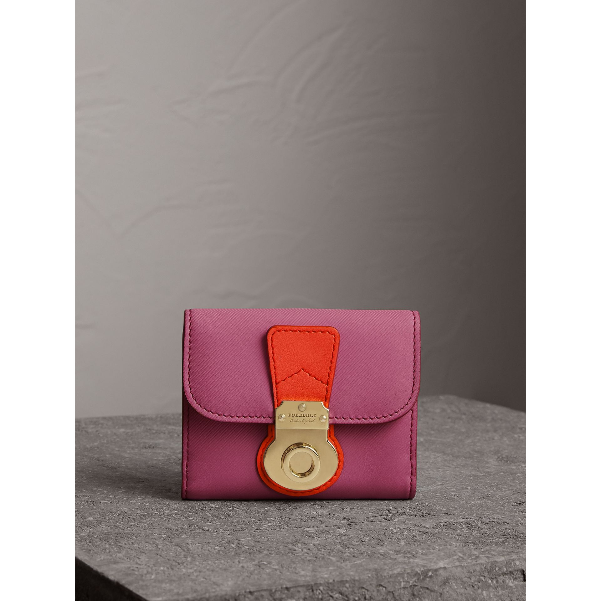 Trench Leather Wallet in Rose Pink - Women | Burberry Australia - gallery image 4