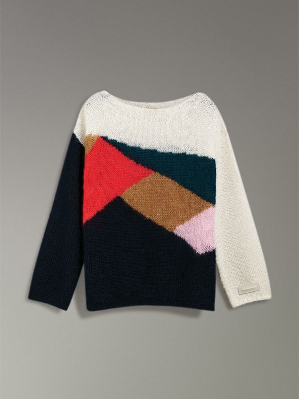 Geometric Intarsia Mohair Silk Blend Sweater in Black - Women | Burberry United States - cell image 3