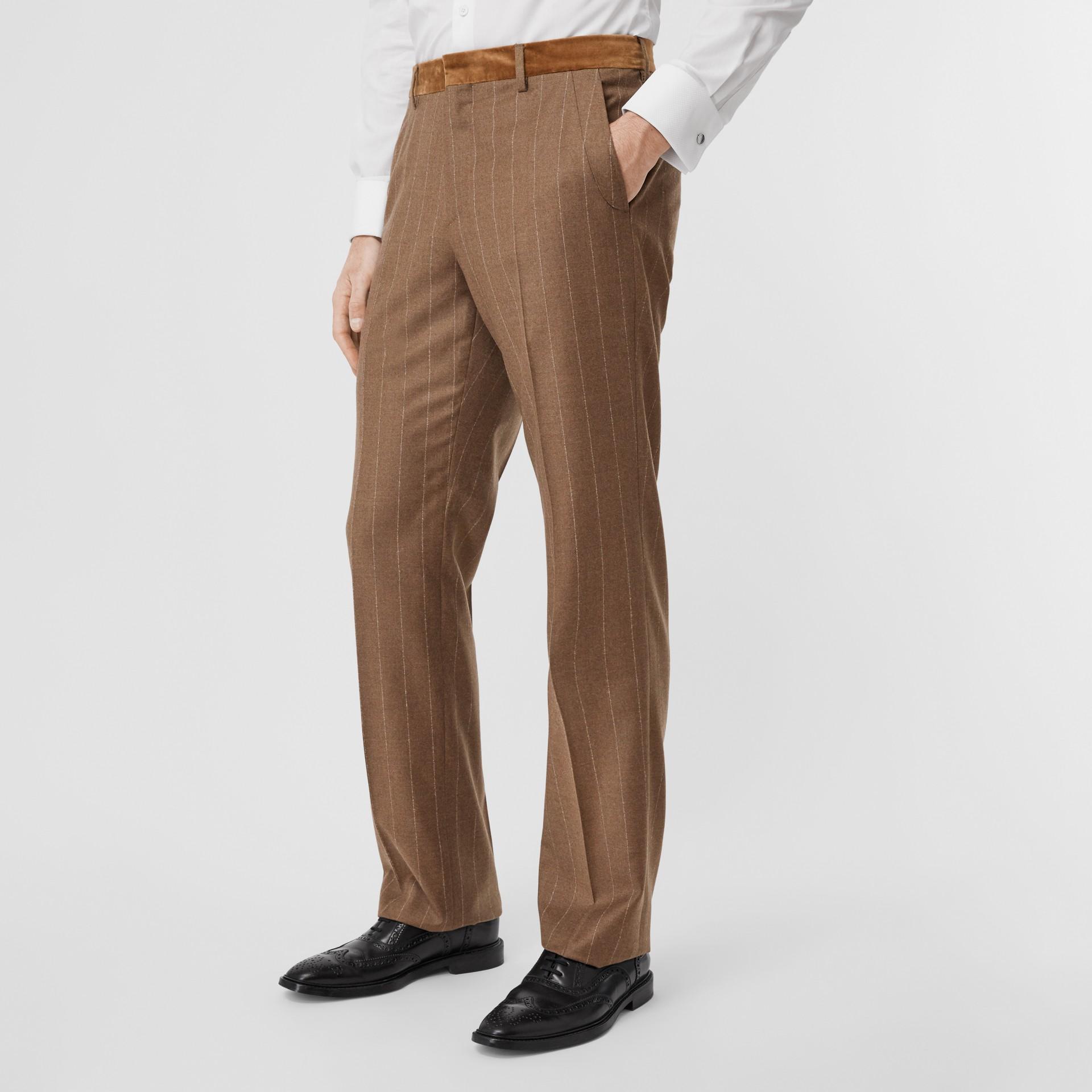 Classic Fit Velvet Trim Wool Cashmere Trousers in Dark Tan - Men | Burberry - gallery image 4