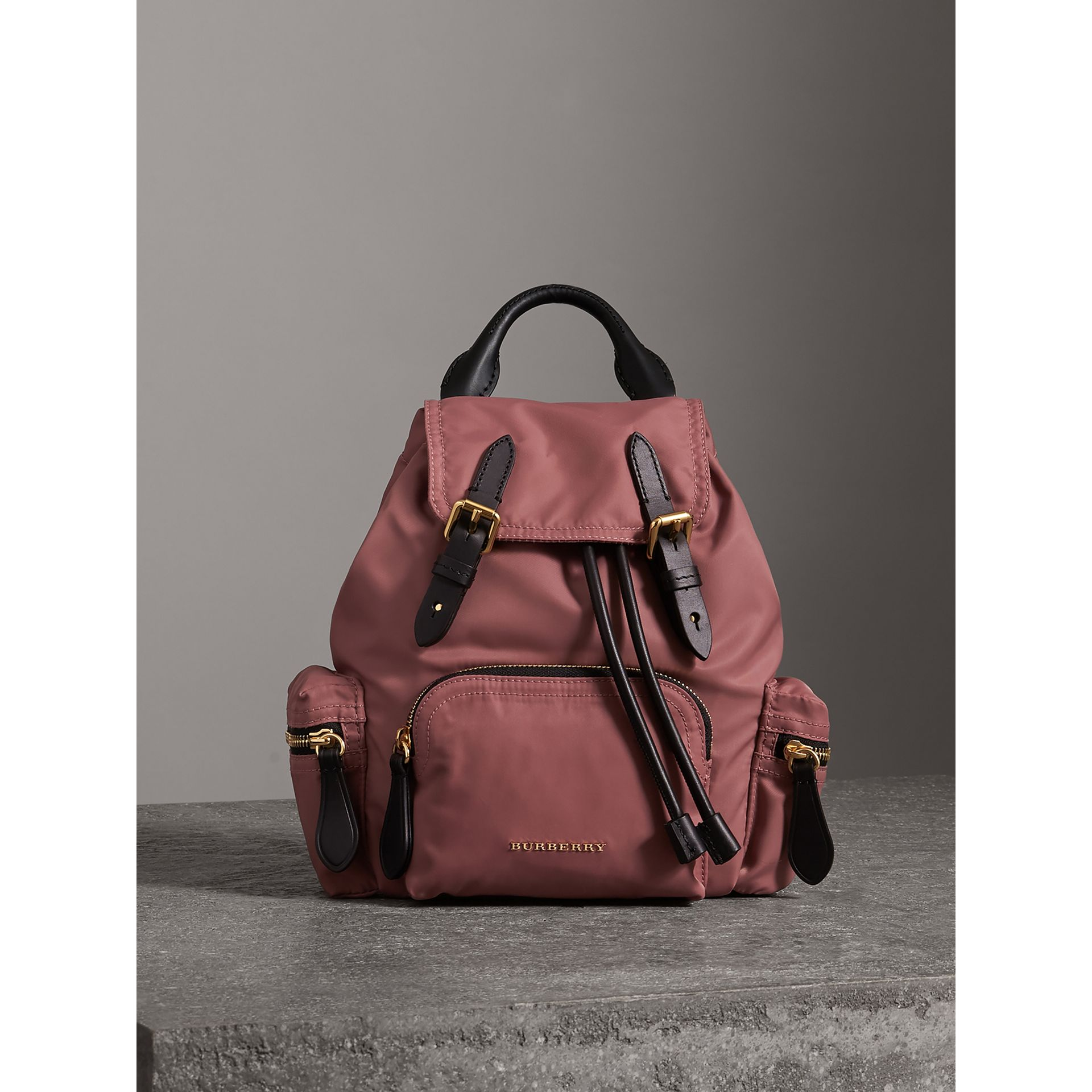 The Crossbody Rucksack in Nylon and Leather in Mauve Pink - Women | Burberry - gallery image 8