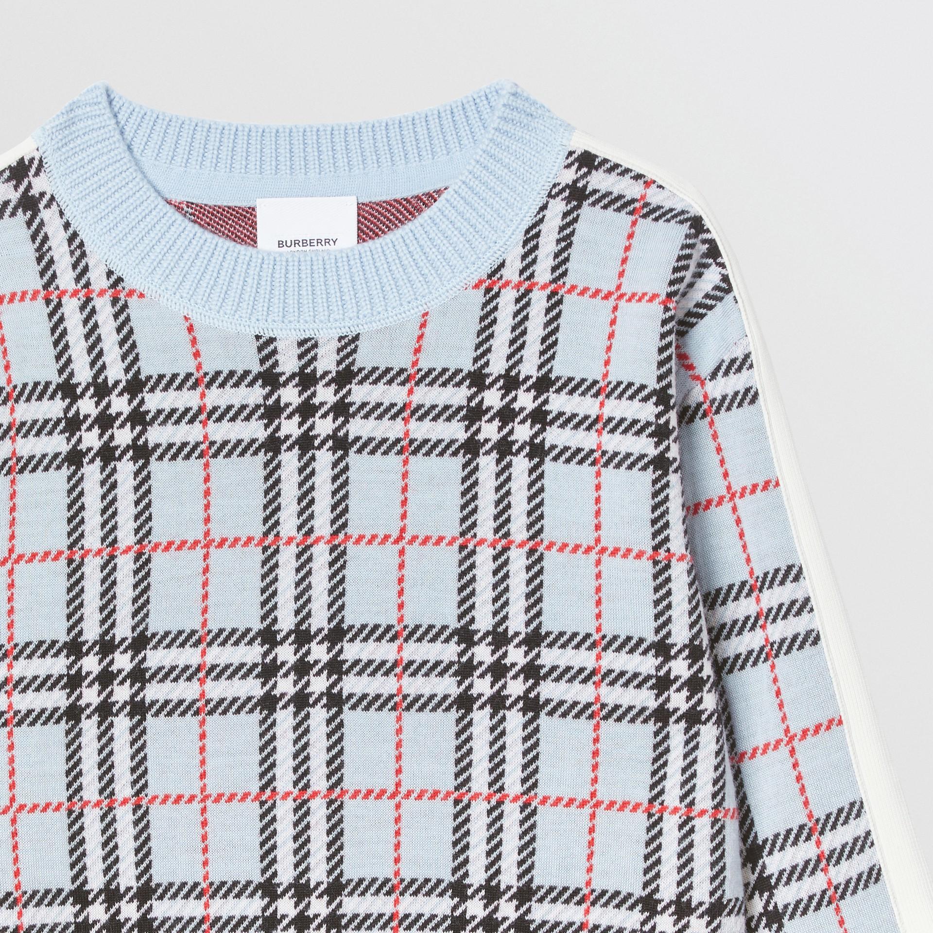 Check Merino Wool Jacquard Sweater in Pale Blue | Burberry Australia - gallery image 5