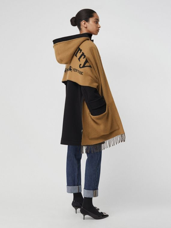 Archive Logo Wool Cashmere Hooded Scarf in Hazelnut