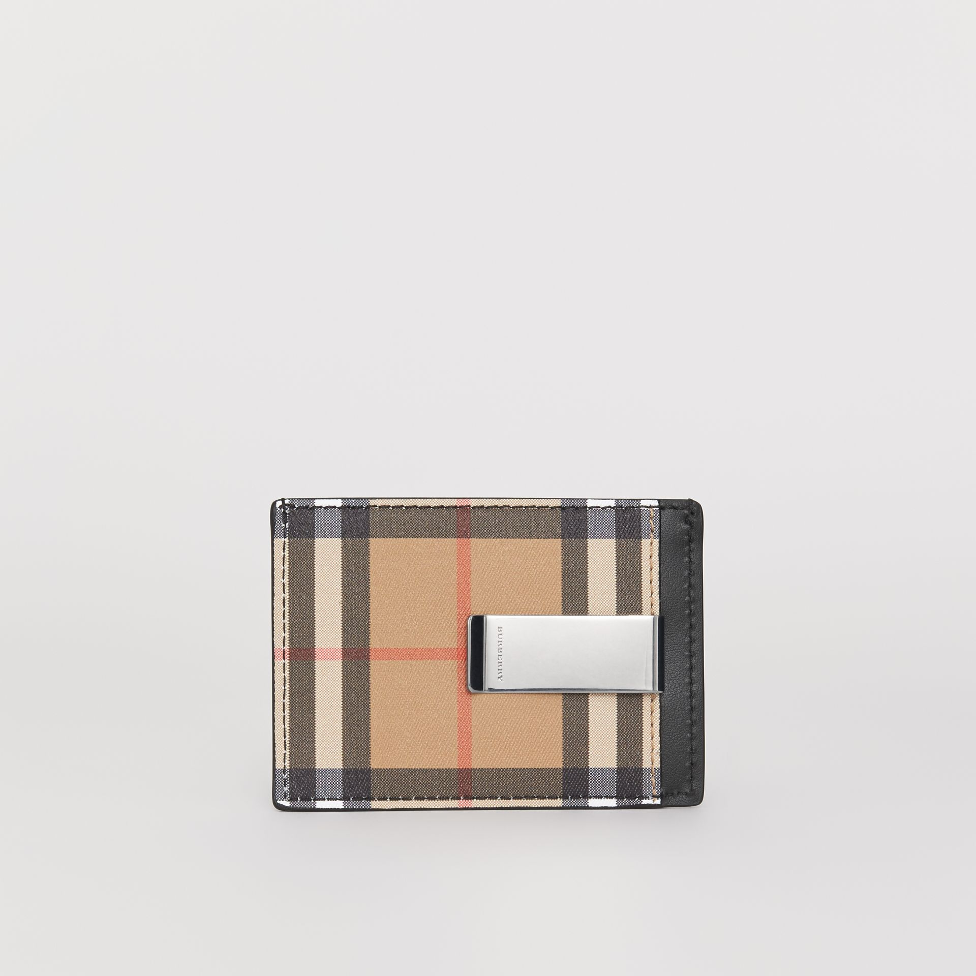 Vintage Check and Leather Money Clip Card Case in Black - Men | Burberry United States - gallery image 4