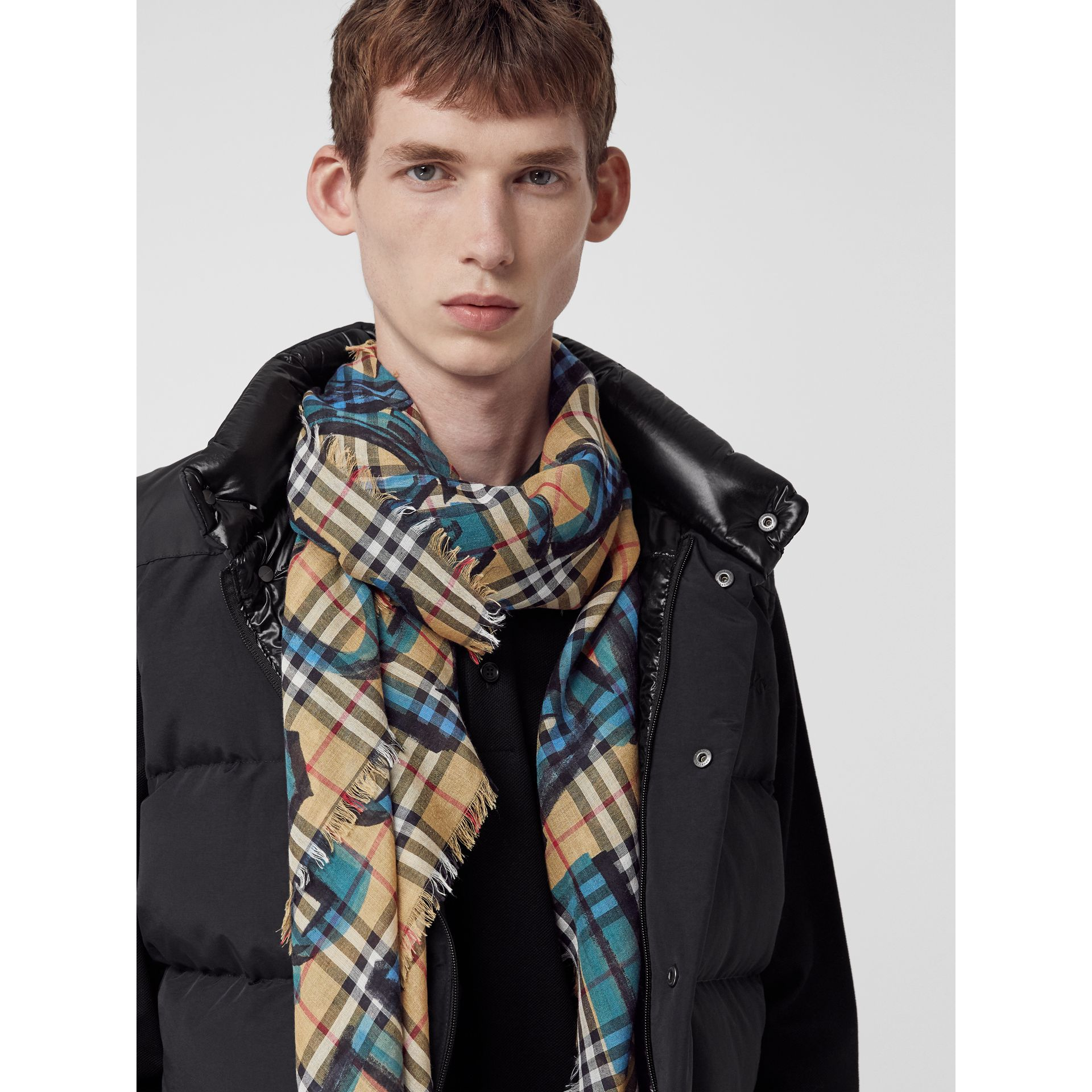 Graffiti Print Check Wool Silk Large Square Scarf in Brilliant Blue | Burberry United Kingdom - gallery image 6