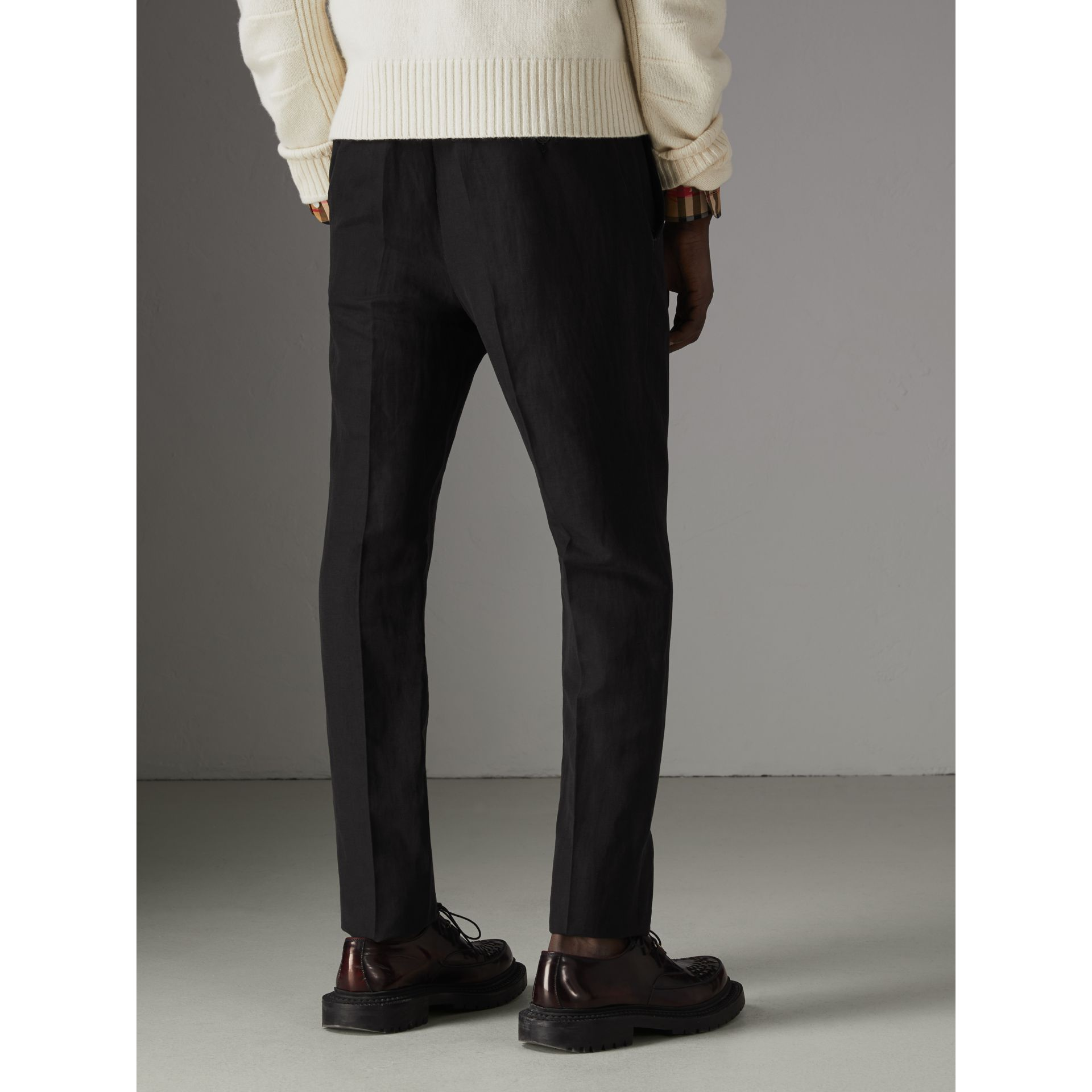 Linen Silk Tailored Trousers in Black - Men | Burberry - gallery image 2