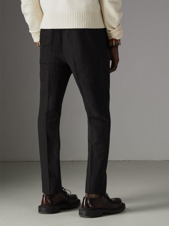 Linen Silk Tailored Trousers in Black - Men | Burberry - cell image 2