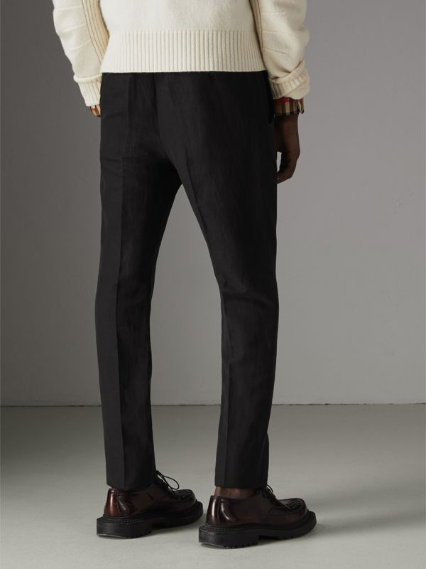Linen Silk Tailored Trousers in Black - Men | Burberry Singapore - cell image 2