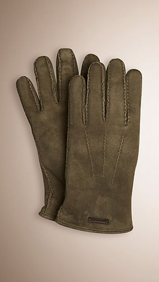 Shearling-lined Suede Gloves
