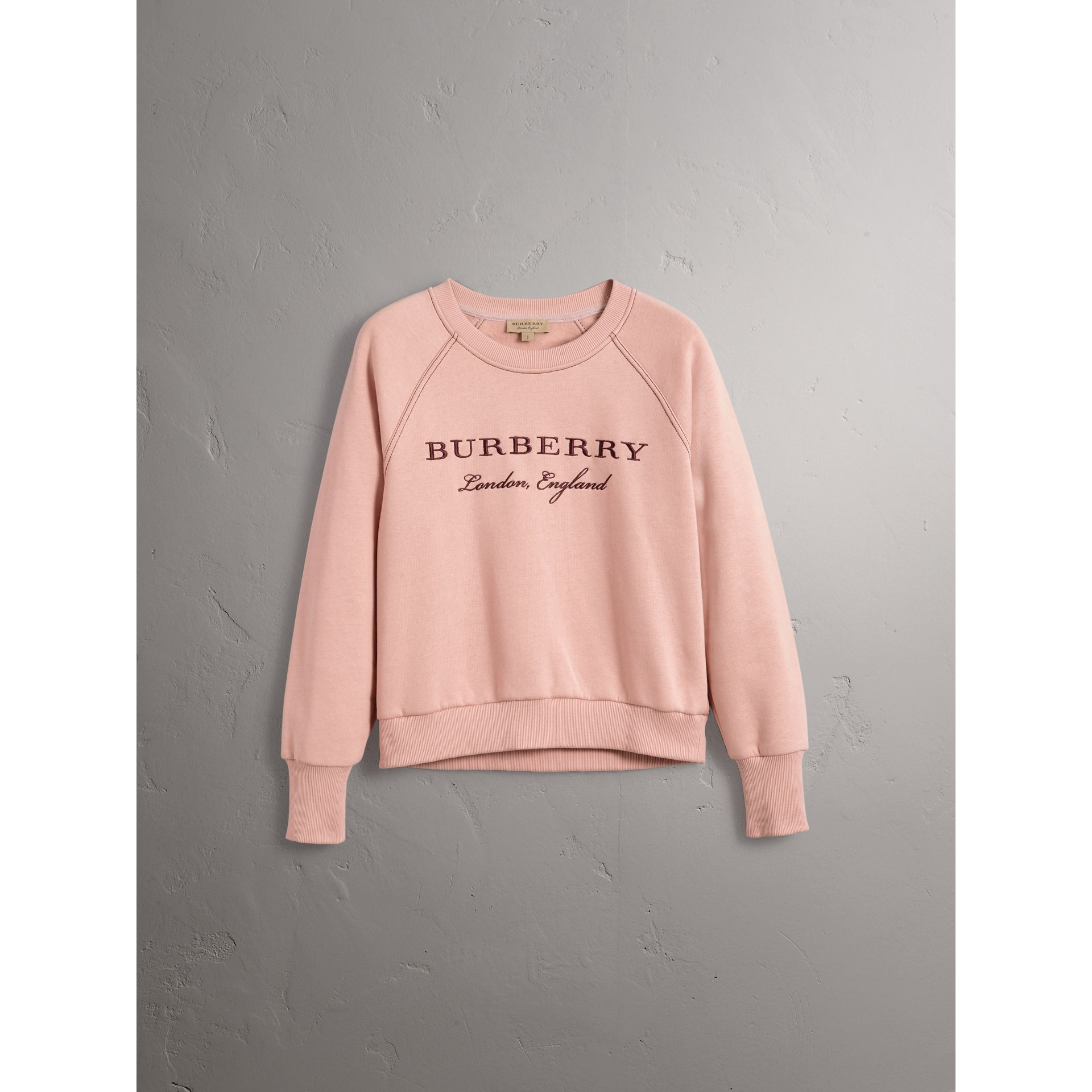 Embroidered Cotton Blend Jersey Sweatshirt in Ash Rose - Women | Burberry United Kingdom - gallery image 4