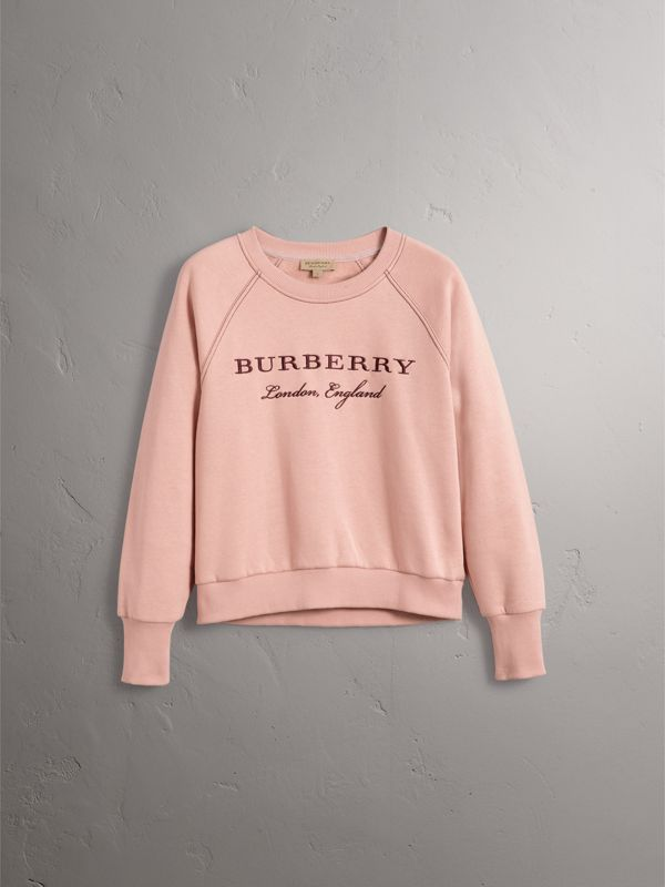 Embroidered Cotton Blend Jersey Sweatshirt in Ash Rose - Women | Burberry - cell image 3